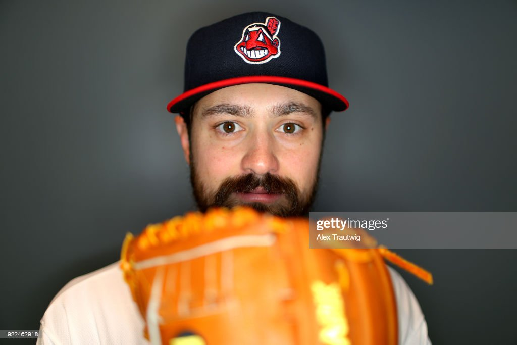 Andrew Miller #24 of the Cleveland Indians poses during Photo Day on Wednesday, February 21, 2018 at Goodyear Ballpark in Goodyear, Arizona.