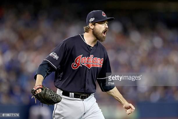 Andrew Miller of the Cleveland Indians reacts after closing out the sixth inning against the Toronto Blue Jays during game five of the American...