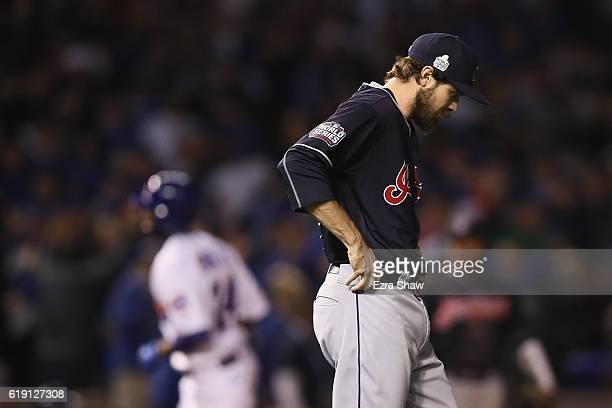 Andrew Miller of the Cleveland Indians reacts after giving up a home run in the eighth inning against the Chicago Cubs in Game Four of the 2016 World...