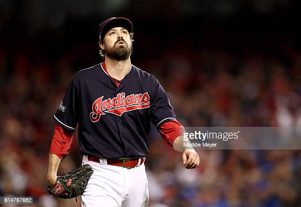 Andrew Miller of the Cleveland Indians reacts against the Toronto Blue Jays in the eighth inning during game one of the American League Championship...