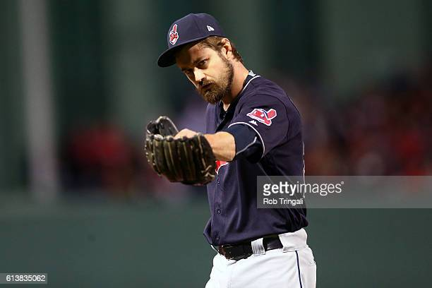 Andrew Miller of the Cleveland Indians reacts to getting the final out of the seventh inning during Game 3 of ALDS against the Boston Red Sox at...