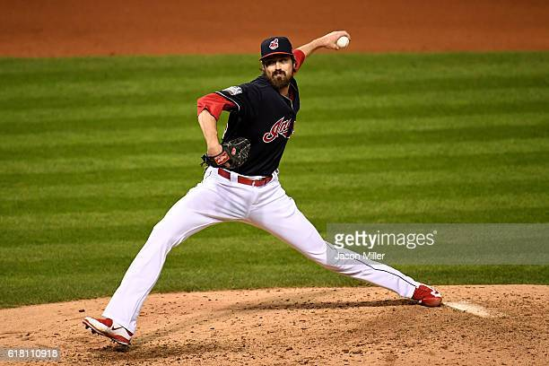 Andrew Miller of the Cleveland Indians throws a pitch during the seventh inning against the Chicago Cubs in Game One of the 2016 World Series at...