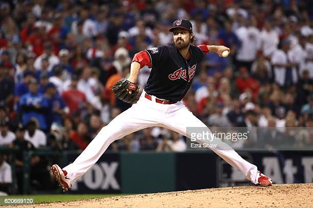 Andrew Miller of the Cleveland Indians throws a pitch during the fifth inning against the Chicago Cubs in Game Seven of the 2016 World Series at...