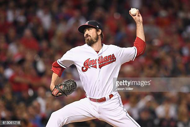 Andrew Miller of the Cleveland Indians throws a pitch in the fifth inning against the Boston Red Sox during game one of the American League Divison...