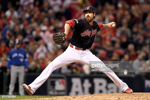 Andrew Miller of the Cleveland Indians throws a pitch in the seventh inning against the Toronto Blue Jays during game one of the American League...