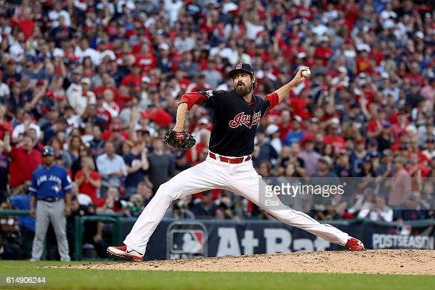 Andrew Miller of the Cleveland Indians throws a pitch in the seventh inning against the Toronto Blue Jays during game two of the American League...