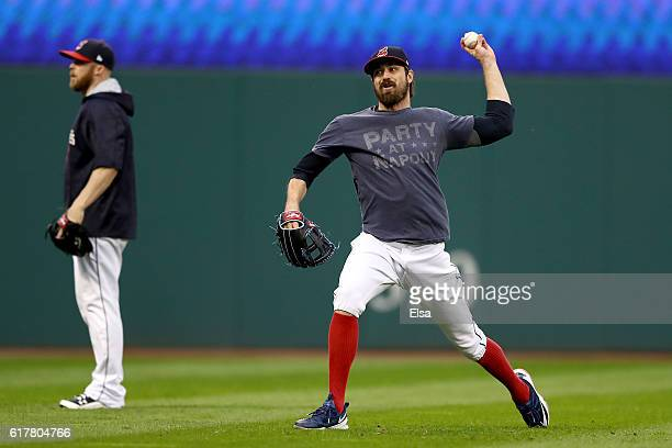 Andrew Miller of the Cleveland Indians throws during Media Day workouts for the 2016 World Series at Progressive Field on October 24 2016 in...