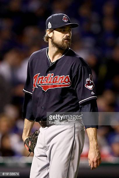 Andrew Miller of the Cleveland Indians walks off the mound after the eighth inning against the Chicago Cubs in Game Four of the 2016 World Series at...