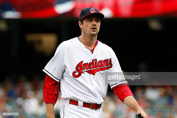 Andrew Miller of the Cleveland Indians walks to the dugout in the sixth inning against the Minnesota Twins at Progressive Field on August 4 2016 in...
