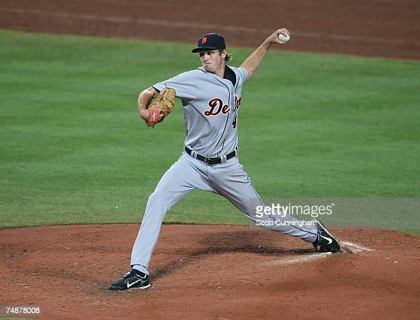 Andrew Miller of the Detroit Tigers pitches against the Atlanta Braves at Turner Field on June 24 2007 in Atlanta Georgia The Tigers defeated the...