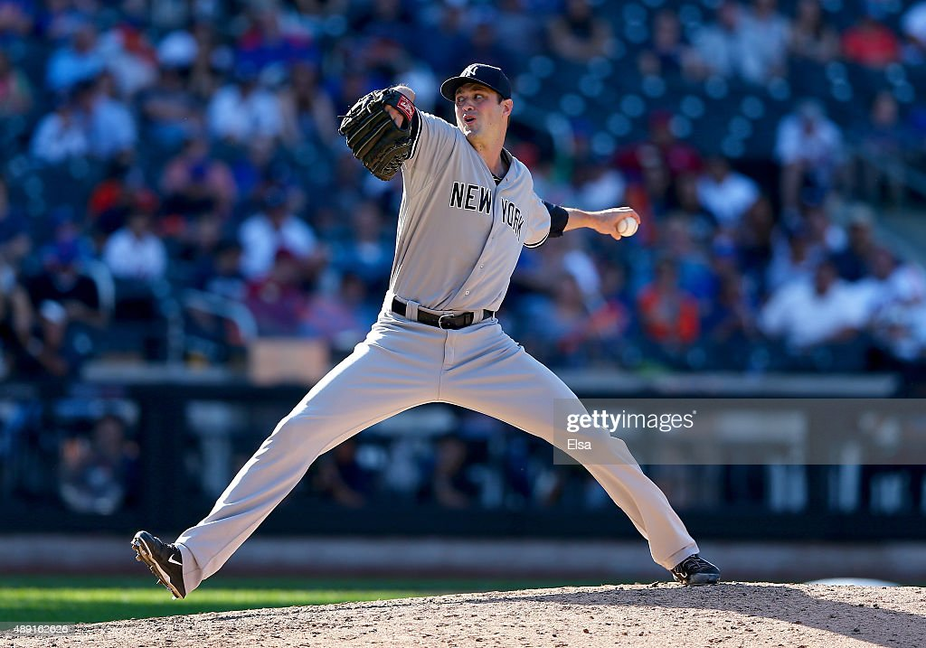 Andrew Miller #48 of the New York Yankees delivers a pitch in the ninth inning against the New York Mets during interleague play on September 19, 2015 at Citi Field in the Flushing neighborhood of the Queens borough of New York City.The New York Yankees defeated the New York Mets 5-0.