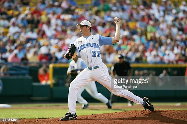 Andrew Miller of the North Carolina Tar Heels pitches against the Oregon State Beavers during game one of the NCAA College World Series Baseball...