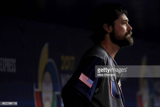 Andrew Miller of the United States looks on after giving up back to back home runs during the eighth inning during a Pool C game of the 2017 World...