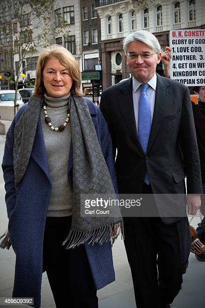 Andrew Mitchell and his wife Dr Sharon Bennett arrive at the High Court on November 24 2014 in London England Former cabinet minister Andrew Mitchell...