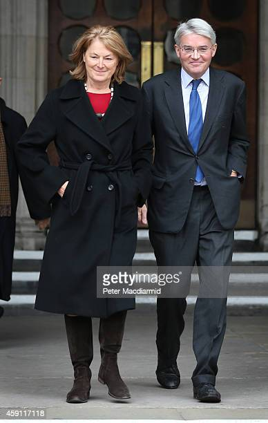 Andrew Mitchell leaves the High Court with his wife Dr Sharon Bennett on November 17 2014 in London England Former cabinet minister Andrew Mitchell...