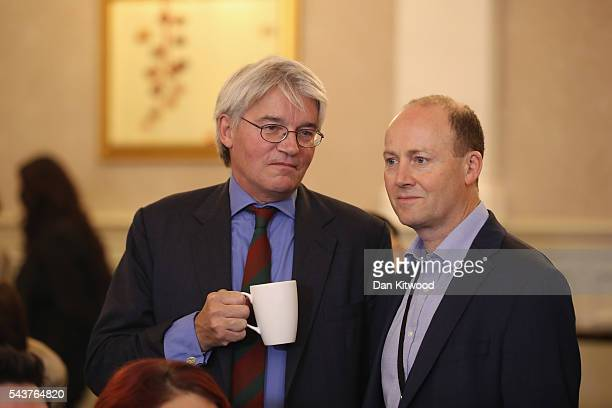 Andrew Mitchell MP is seen with a cup of tea before Former London Mayor and Conservative MP Boris Johnson speaks and rules himself out of becoming...