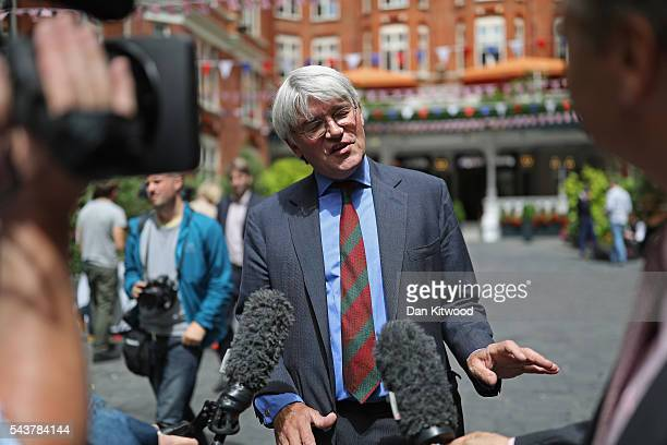 Andrew Mitchell MP speaks to the media after Former London Mayor and Conservative MP Boris Johnson ruled himself out of becoming the next...