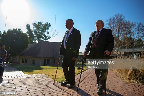Andrew Mlangeni and Denis Goldberg two of the three surviving defendants in the Rivonia Trial on June 10 2014 at Liliesleaf farm outisde Johannesburg...