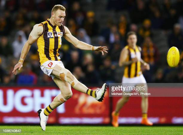 Andrew Moore of the Box Hill Hawks misses a kick for goal during the VFL Grand Final match between Casey and Box Hill at Etihad Stadium on September...