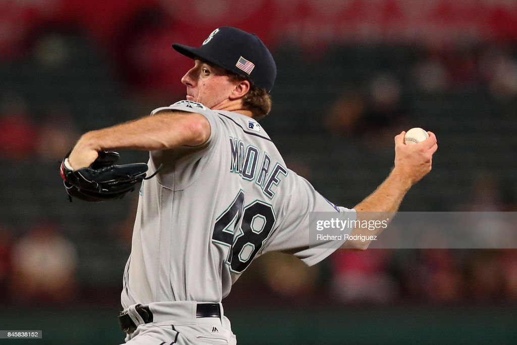 Andrew Moore #48 of the Seattle Mariners works the eighth inning against the Texas Rangers at Globe Life Park in Arlington on September 11, 2017 in Arlington, Texas.