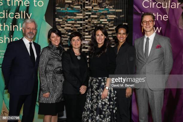 Andrew Morlet Leslie Johnston Ellen MacArthur Anna Gedda Virginia RustiquePetteni and Erik Bang attend the launch of the Circular Fibres Initiate...