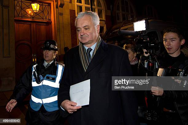 Andrew Murray chair of the Stop The War Coalition delivers a letter to the Conservative Party Headquarters during the Stop The War Coalition's...