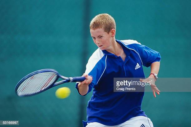 Andrew Murray in action during the Under 14s event of the National Junior Championships at the Nottingham tennis centre on August 20 1999 in...