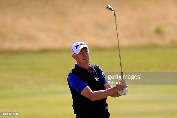 Andrew Murray of England in action during the final round of the English Senior Open played at Rockliffe Hall on August 24 2014 in Durham United...
