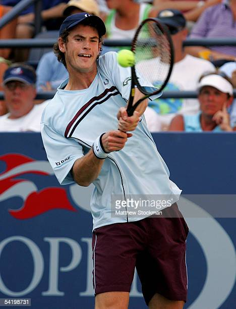 Andrew Murray of Great Britain hits a shot to Arnaud Clement of France during the US Open at the USTA National Tennis Center in Flushing Meadows...