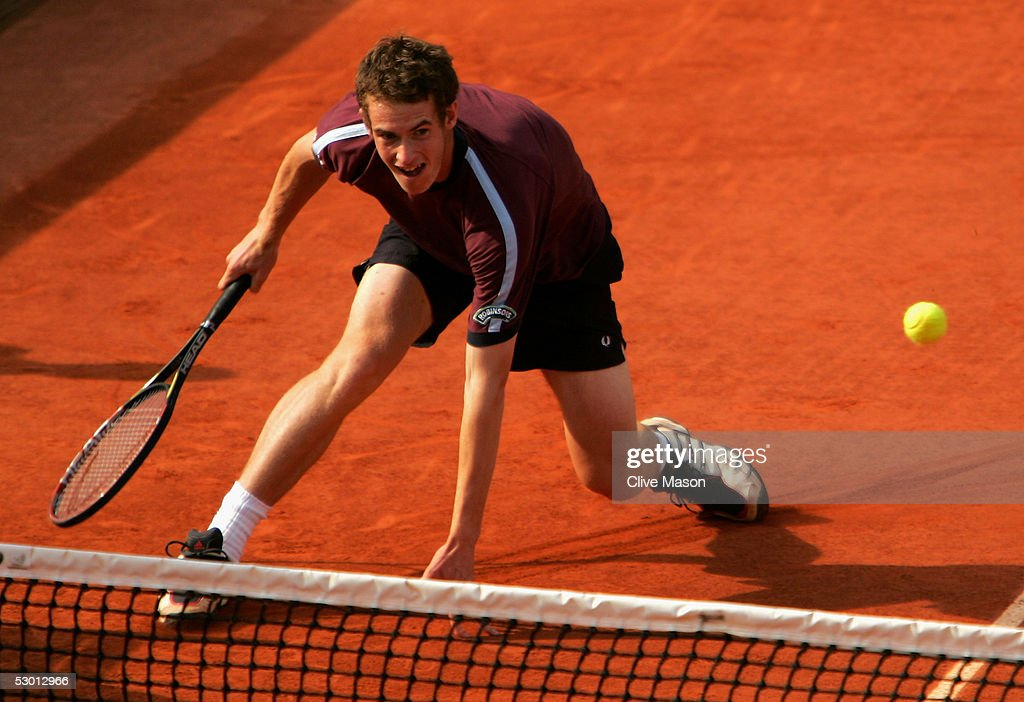 Andrew Murray of Great Britain in action during his boys doubles quarter final match against Chekhov and Rudnev of Russia during the eleventh day of the French Open at Roland Garros on June 2, 2005 in Paris, France.