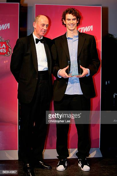 Andrew Murray of Great Britain is presented with the 2005 Lawn Tennis Association Player of the Year Award by Charles Trippe President of the LTA...