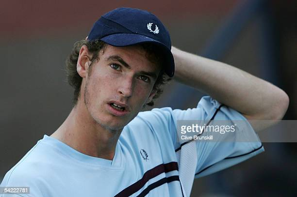 Andrew Murray of Great Britain reacts to a missed point against Arnaud Clement of France during the US Open at the USTA National Tennis Center in...