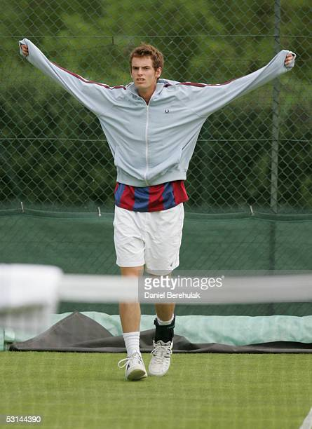 Andrew Murray of Great Britain warms up during the fifth day of the Wimbledon Lawn Tennis Championship on June 24 2005 at the All England Lawn Tennis...