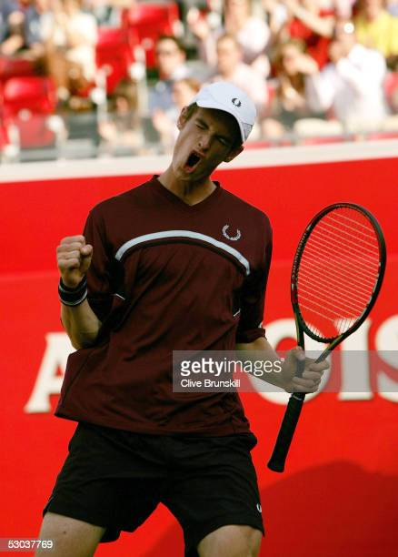 Andrew Murray of Great Britan celebrates a point during the completion of the second round match against Taylor Dent of USA at the Stella Artois...