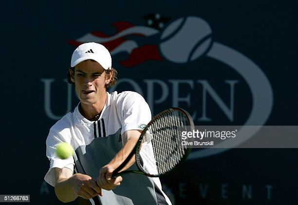 Andrew Murray of Great Britian returns to Juan Martin Del Potro of Argentina during the US Open September 6 2004 at the USTA National Tennis Center...