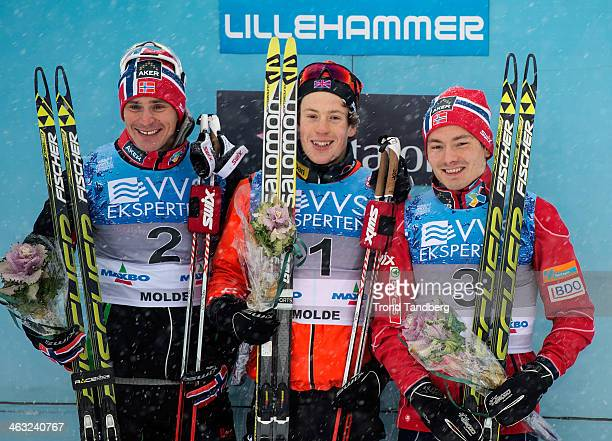 Andrew Musgrave of Great Britain celebrates winning the Mens Sprint final with Ola Vigen Hattestad and Finn Hagen Krogh during the Norwegian Cross...