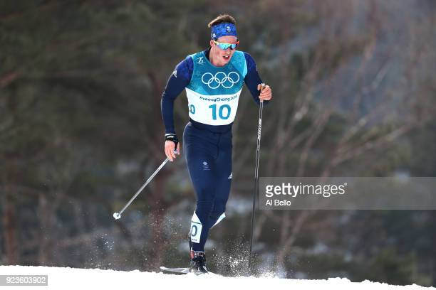 Andrew Musgrave of Great Britain competes during the Men's 50km Mass Start Classic on day 15 of the PyeongChang 2018 Winter Olympic Games at Alpensia...