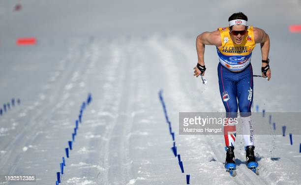 Andrew Musgrave of Great Britain competes in the CrossCountry Men's 15k race of the FIS Nordic World Ski Championships at Langlauf Arena Seefeld on...