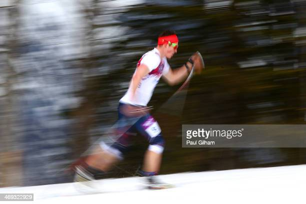 Andrew Musgrave of Great Britain competes in the Men's 15 km Classic during day seven of the Sochi 2014 Winter Olympics at Laura Crosscountry Ski...