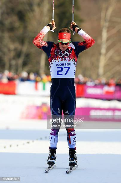 Andrew Musgrave of Great Britain crosses the finish line in the Quarterfinals of the Men's Sprint Free during day four of the Sochi 2014 Winter...