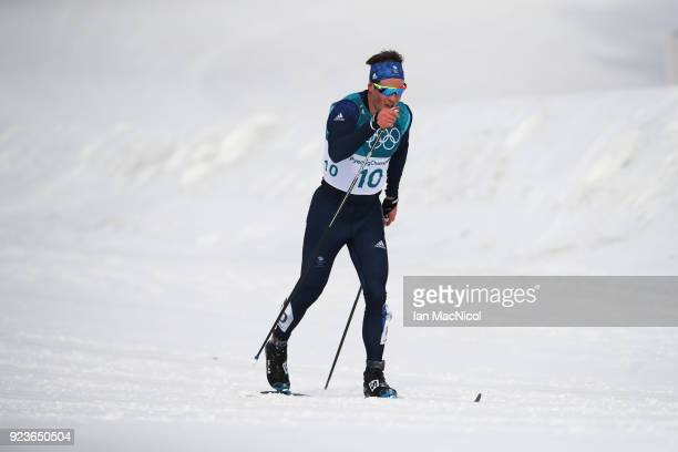 Andrew Musgrave of Great Britain is seen during the Men's 50km Mass Start Classic at Alpensia CrossCountry Centre on February 24 2018 in...