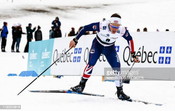 Andrew Musgrave of Great Britain races during the FIS Qualification Sprint March 22 2019 on the first day of the FIS crosscountry World Cup Finals in...