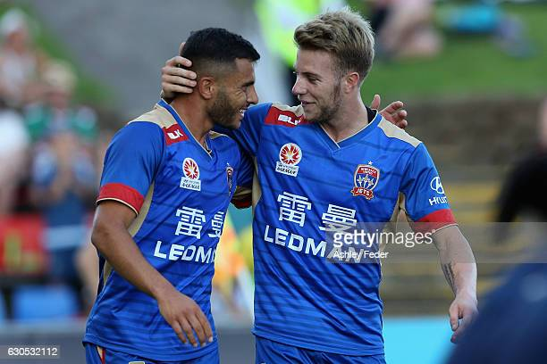 Andrew Nabbout and Andrew Hoole of the Jets celebrate a goal during the round 12 ALeague match between the Newcastle Jets and the Wellington Phoenix...