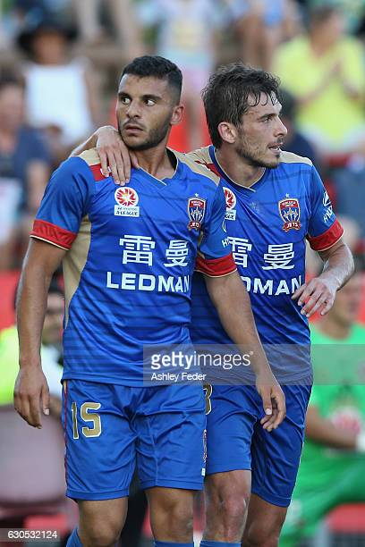 Andrew Nabbout and Mateo Poljak of the Jets celebrtate a goal during the round 12 ALeague match between the Newcastle Jets and the Wellington Phoenix...