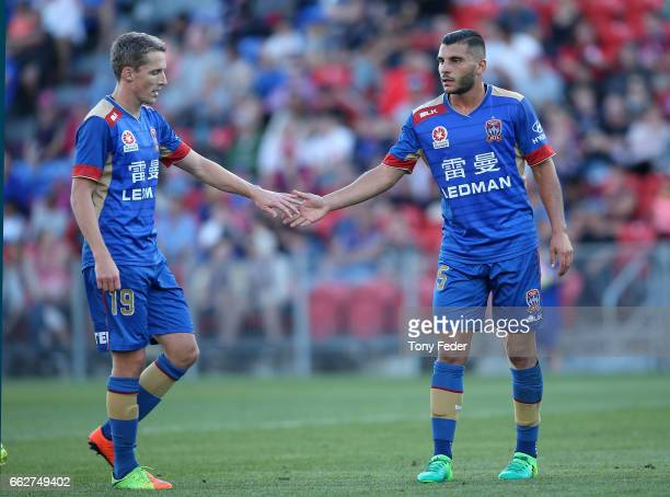 Andrew Nabbout and Morten Nordstrand of the Jets during the round 25 ALeague match between the Newcastle Jets and the Western Sydney Wanderers at...