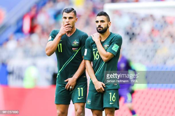 Andrew Nabbout and team mate Aziz Behich of Australia react during the 2018 FIFA World Cup Russia group C match between Denmark and Australia at...
