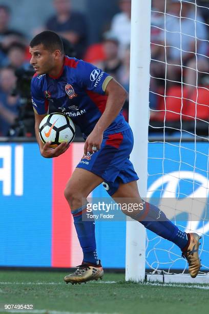Andrew Nabbout during the round 17 ALeague match between the Newcastle Jets and Wellington Phoenix at McDonald Jones Stadium on January 20 2018 in...