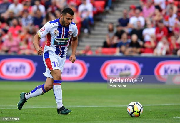 Andrew Nabbout gets past Adelaides goal keeper Paul Izzo to score during the round six ALeague match between Adelaide United and the Newcastle Jets...