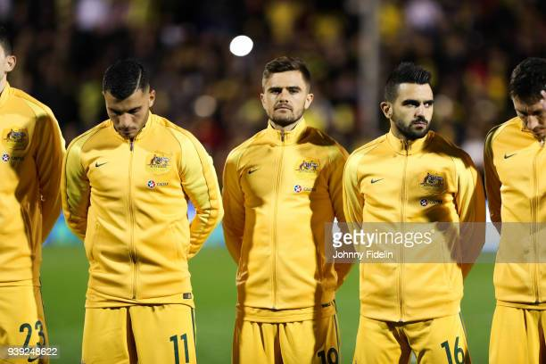 Andrew Nabbout Josh Risdon and Aziz Behich of Australia during the International friendly match between Colombia and Australia at Craven Cottage on...