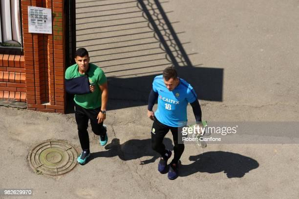 Andrew Nabbout of Australia and Danny Vukovic of Australia arrives prior to an Australian Socceroos media opportunity at Stadium Trudovye Rezervy on...